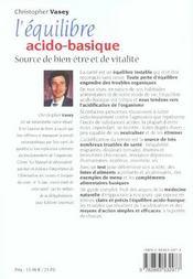 Equilibre Acido - Basique (L') Nouvelle Edition - 4ème de couverture - Format classique
