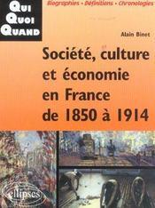 Societe Culture Et Economie En France De 1850 A 1914 - Intérieur - Format classique