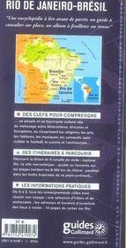 Rio de janeiro brésil (brasilia, sao paulo, salvador, recife, belem) - 4ème de couverture - Format classique