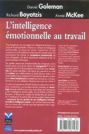 L'intelligence emotionnelle au travail - 4ème de couverture - Format classique