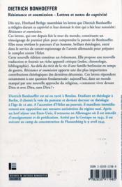 Resistance Et Soumission: Lettres Et Notes De Captivite - 4ème de couverture - Format classique