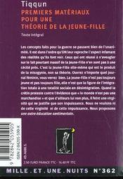 Premiers Materiaux Pour Une Theorie De La Jeune Fille - 4ème de couverture - Format classique