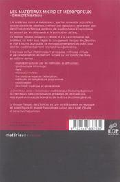 Les matériaux micro et mésoporeux ; caractérisation - 4ème de couverture - Format classique