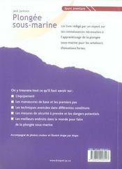 Plongee Sous-Marine - 4ème de couverture - Format classique