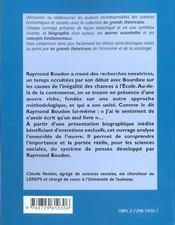 Raymond Boudon Vie Oeuvres Concepts - 4ème de couverture - Format classique