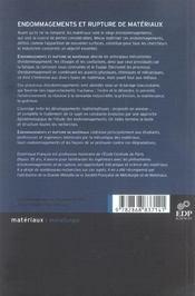 Endommagements et rupture de matériaux - 4ème de couverture - Format classique