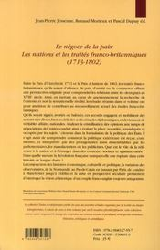 Le négoce et la paix ; les nations et les traités franco-britanniques 1713-1802 - 4ème de couverture - Format classique