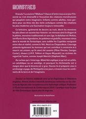 Monstres ; bréviaire des créatures légendaires ou fantastiques - 4ème de couverture - Format classique