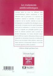 Les Traitements Antithrombotiques - 4ème de couverture - Format classique