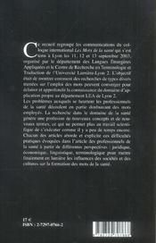 Les Mots De La Sante - 4ème de couverture - Format classique