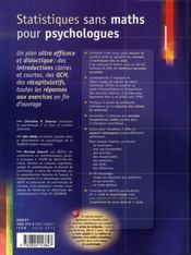 Statistiques sans maths pour psychologues - 4ème de couverture - Format classique