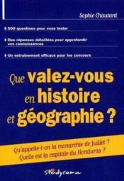 Que valez-vous en culture generale ? histoire-geographie - Couverture - Format classique