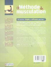 Méthode de musculation, 110 exercices sans matériel - 4ème de couverture - Format classique