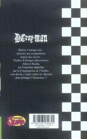 D.gray-man t.2 ; le vieil homme et l'aria d'une triste nuit - 4ème de couverture - Format classique