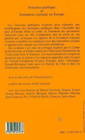 Fonction Publique Et Formation Continue En Europe - 4ème de couverture - Format classique