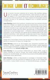 Energie Libre Et Technologies - 4ème de couverture - Format classique