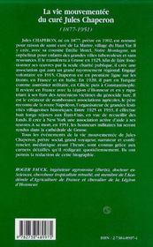 La Vie Mouvementee Du Cure Jules Chaperon ; Biographie D'Un Pretre Social Dans La Haute Vallee De L'Artuby 1877-1951 - 4ème de couverture - Format classique