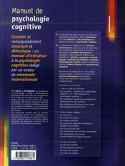 Manuel de psychologie cognitive du laboratoire à la vie quotidienne - 4ème de couverture - Format classique