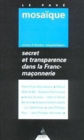 Secret Et Tranparence Maconniques - Couverture - Format classique