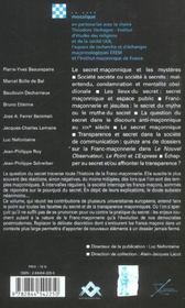 Secret Et Tranparence Maconniques - 4ème de couverture - Format classique