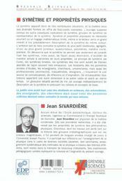 Symetrie Et Proprietes Physiques - 4ème de couverture - Format classique