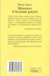 Mémoires d'un jeune garçon - 4ème de couverture - Format classique