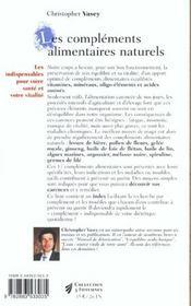 Complements alimentaires naturels (les) n.52 - 4ème de couverture - Format classique