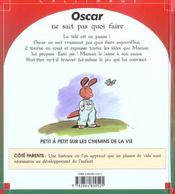 Oscar Ne Sait Pas Quoi Faire - 4ème de couverture - Format classique