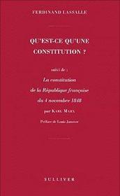 Qu'est ce qu'une constitution - Couverture - Format classique