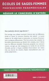 Concours D'Entree Mode D'Emploi Ecoles De Sages-Femmes Professions Paramedicales - 4ème de couverture - Format classique