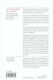 Les rythmes du corps ; chronobiologie de l'alimentation, du sommeil, de la santé... - 4ème de couverture - Format classique