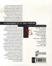 La marionnette et son théâtre ; le théâtre de kleist et sa postérité - 4ème de couverture - Format classique