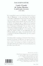 Louis-Claude De Saint Martin, Le Philosophe Inconnu - 4ème de couverture - Format classique