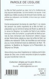 Noel Et Son Mystere - Ce Que Dit Le Pape - 4ème de couverture - Format classique