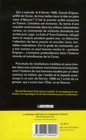 La véritable histoire du commando Erignac - 4ème de couverture - Format classique