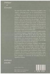 Le recomposition du politique ; politique et économie - 4ème de couverture - Format classique