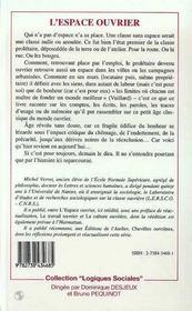L'Espace Ouvrier - 4ème de couverture - Format classique