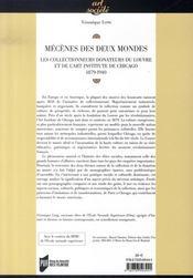 Mécènes des deux mondes ; les collectionneurs donateurs du louvre et de l'art institute de chicago, 1879-1940 - 4ème de couverture - Format classique
