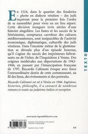 Histoire du ghetto de Venise - 4ème de couverture - Format classique