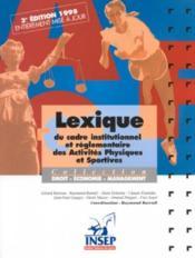 Lexique du cadre institutionnel des a.p.s - Couverture - Format classique