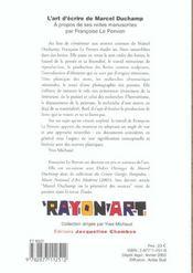 L'Art D'Ecrire De Marcel Duchamp - 4ème de couverture - Format classique