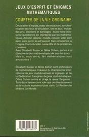Jeux d'esprit et énigmes mathématiques ; comptes de la vie ordinaire - 4ème de couverture - Format classique