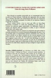 L'Univers Familial Dans Les Contes Africains ; Liens De Sang, Liens D'Alliance - 4ème de couverture - Format classique