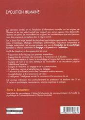 Evolution Humaine - 4ème de couverture - Format classique