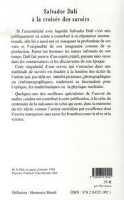 Salvador dali à la croisée des savoirs - 4ème de couverture - Format classique