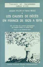 Causes De Deces En France 1925-1978 - Couverture - Format classique
