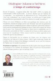 Dialogue Islamo-Chretien A Temps Et A Contretemps - 4ème de couverture - Format classique