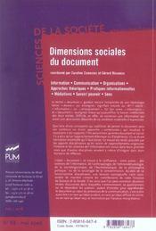 Dimensions Sociales Du Document - 4ème de couverture - Format classique