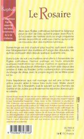 Le rosaire, prière de lumière - 4ème de couverture - Format classique