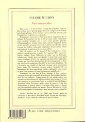 Vies Minuscules - 4ème de couverture - Format classique